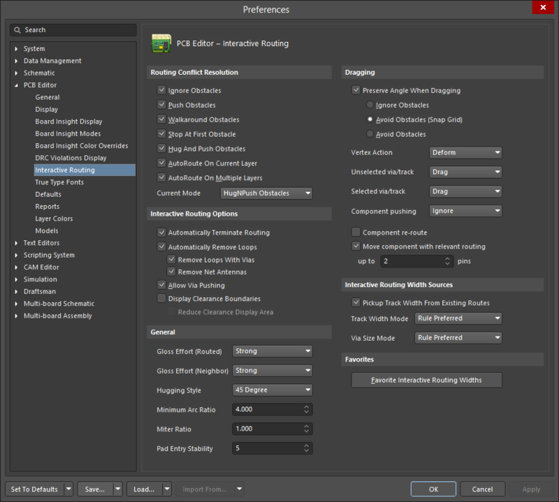 The PCB Editor - Interactive Routing page of the Preferences dialog