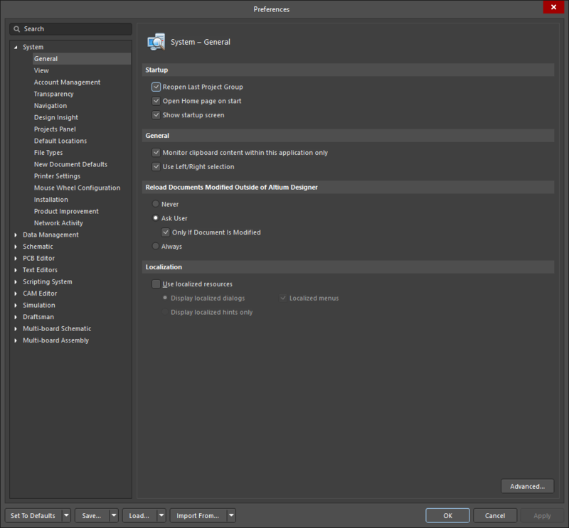 The Preferences dialog displaying the System - General page as an example