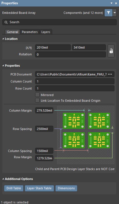 The Embedded Board Array dialog (the first image) and the Embedded Board Array mode of the Properties panel (the second image)