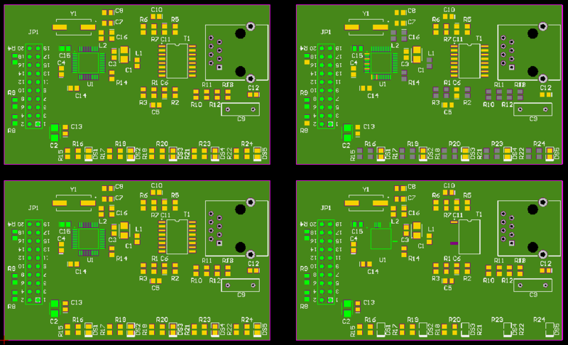 A 2 x 2 board array that references a single PCB design