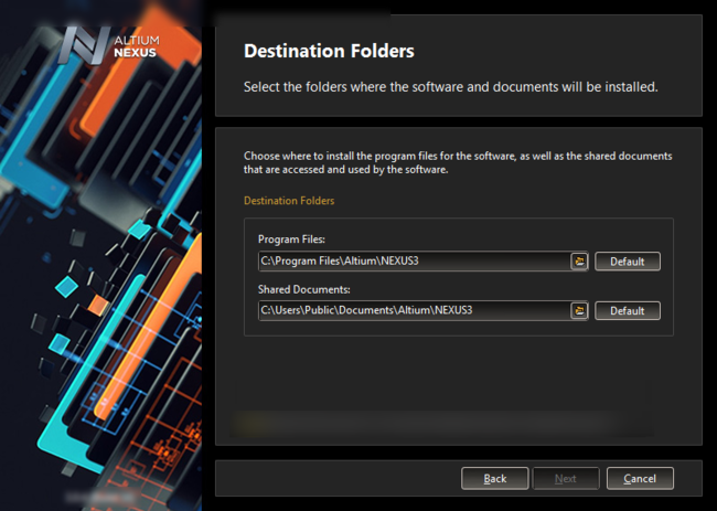 Specify where the software and associated documents are to be installed.