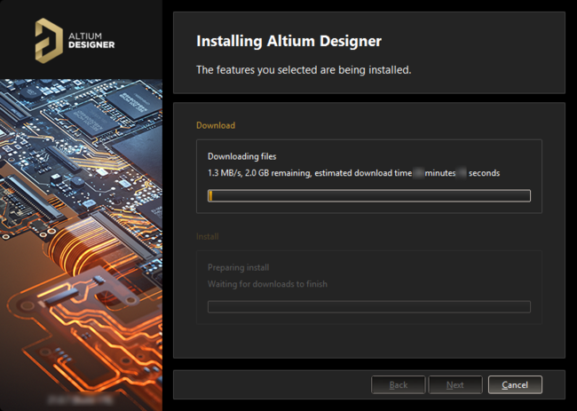 Installation commences by downloading the required set of install files.