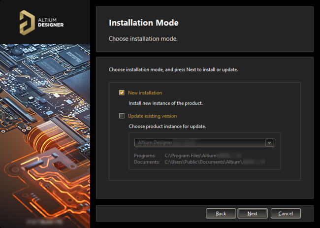 If you already have a previous installation of Altium Designer within the same version stream, you can choose to update that version.  Or install as a separate unique instance.