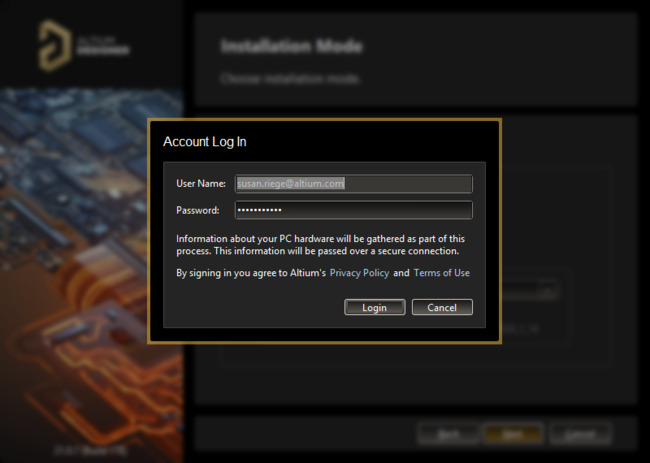 Log in to your account using your AltiumLive Credentials.
