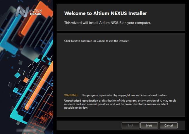 Initial welcome page for the Altium NEXUS Installer.