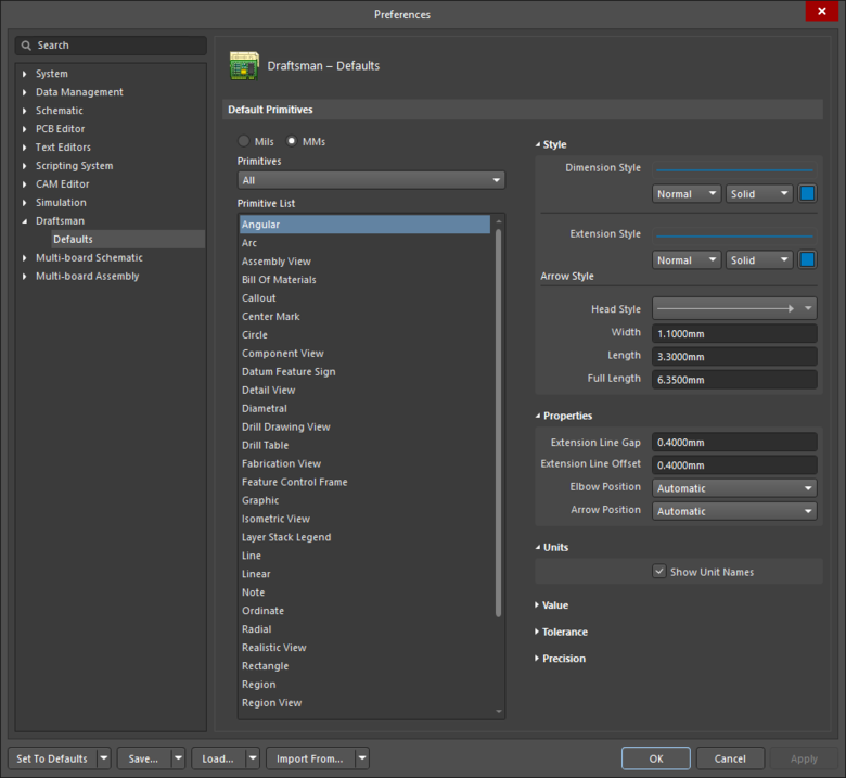 The Draftsman – Defaults page of the Preferences dialog displaying the Angularprimitive as an example.