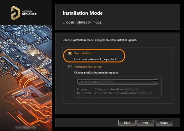 To install a separate instance, ensure the New installation option is chosen as the mode of installation.