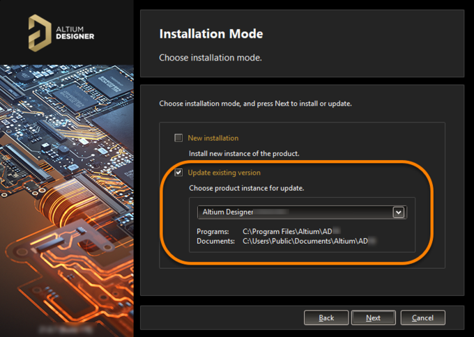Choose to update an existing instance of Altium Designer during installation of a later version of the software.