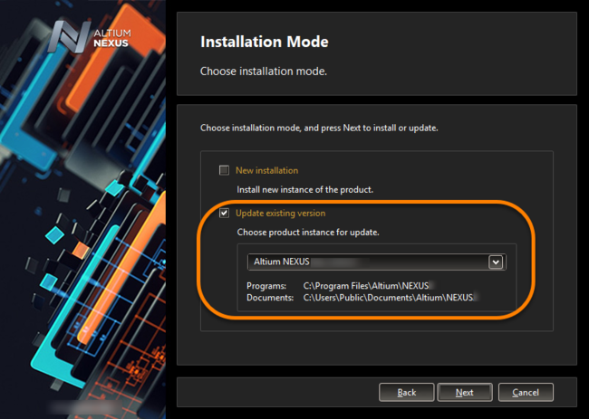 Choose to update an existing instance of Altium NEXUS during installation of a later version of the software.