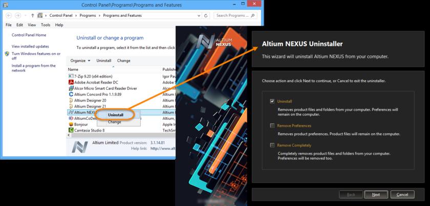 Uninstalling the software is streamlined, courtesy of the Altium NEXUS Uninstaller.