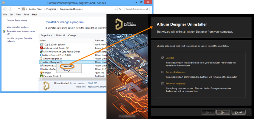 Uninstalling the software is streamlined, courtesy of the Altium Designer Uninstaller.