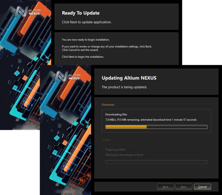 Update of the installation proceeds by downloading the files required to implement required changes to the software. Once downloaded, those files will be installed.