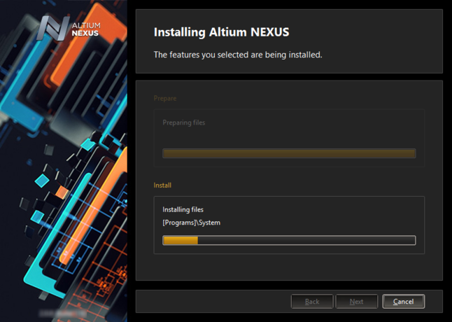 After the file preparation is complete, the software is then installed.