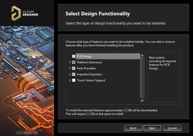 Вы можете выбрать, какие функциональные возможности необходимы в Altium Designer (их можно изменить позже).