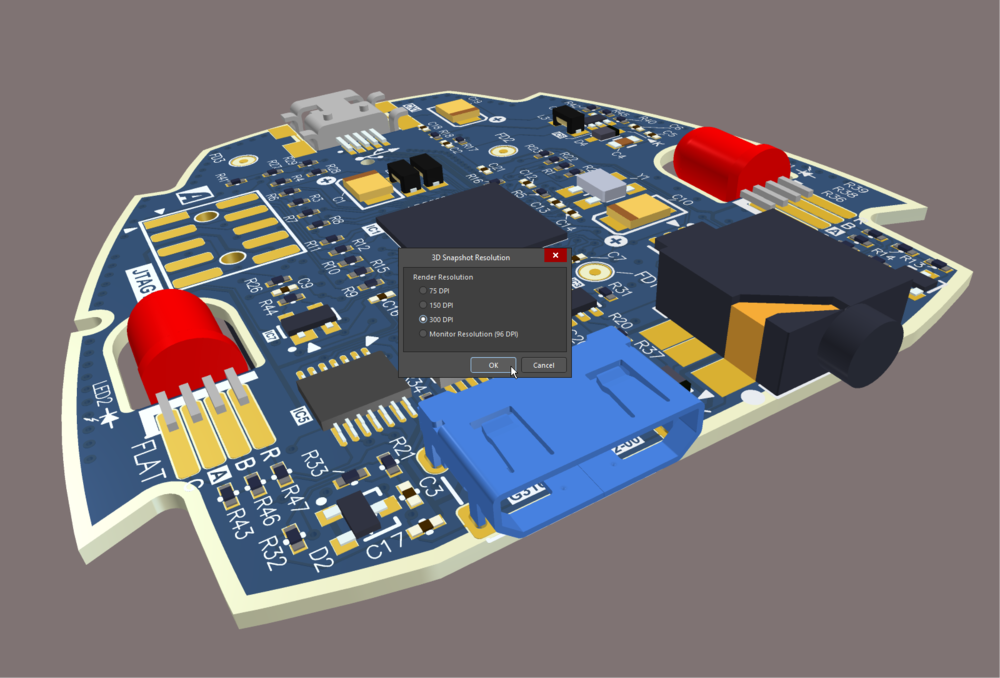 Press Ctrl+C in 3D view mode to capture a high resolution image of the board