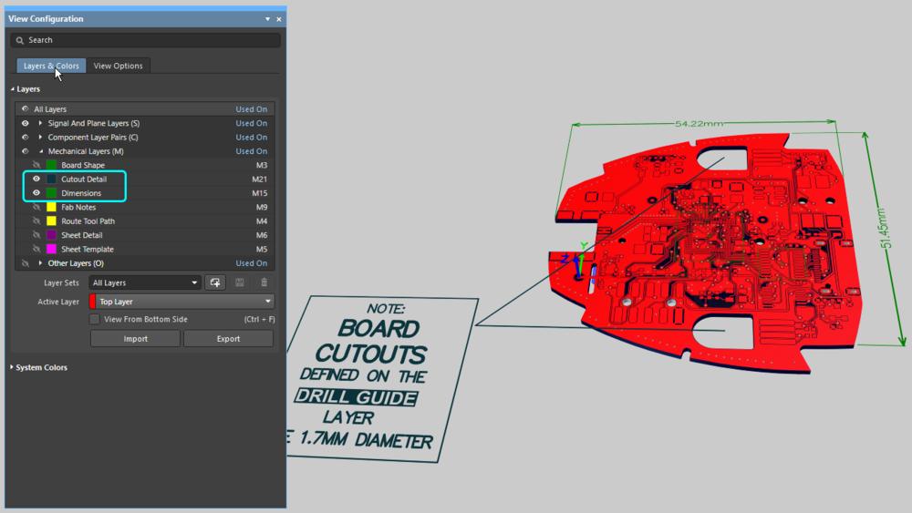 При отображении платы в 3D с использованием цветов слоев будут также отображены механические слои.