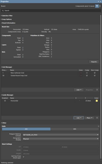 Элементы управления для доступа к единой системе привязок курсора в панели Properties, в том числе разделы Snap Options, Grid Manager и Guide Manager.