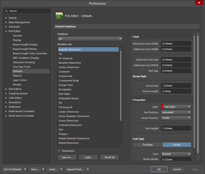 The PCB Editor - Defaults page of the Preferences dialog showing the Angular Dimension primitive as an example.