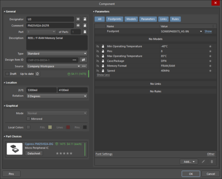 The Component dialog(the first image) and the Componentmode of the Properties panel (the second image)