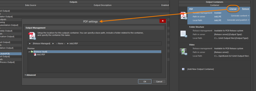 Access the Settings dialog for the container to configure it as required. In Basic mode, use the dialog to define the output location for the container.