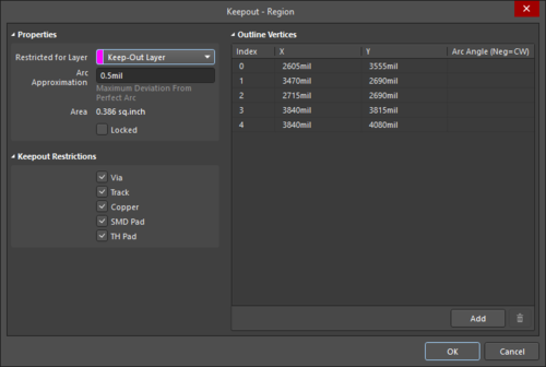 The Keepout - Region dialog on the left, and theKeepout - Region mode of the Properties panel, on the right.