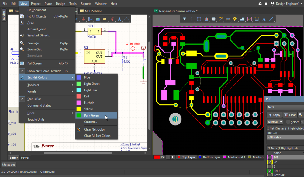 Apply color to the nets in the schematic and PCB editors, to make it easier to examine the connectivity in each editor