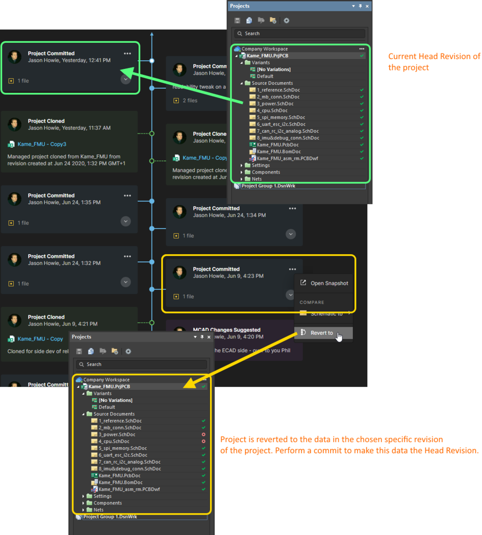 You can revert to any specific revision of the project – directly from the corresponding Project Committed event tile for that revision.