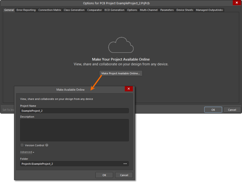 A local, unmanaged project can also be made available online – in the Workspace – from the General tab of the Project Options dialog.