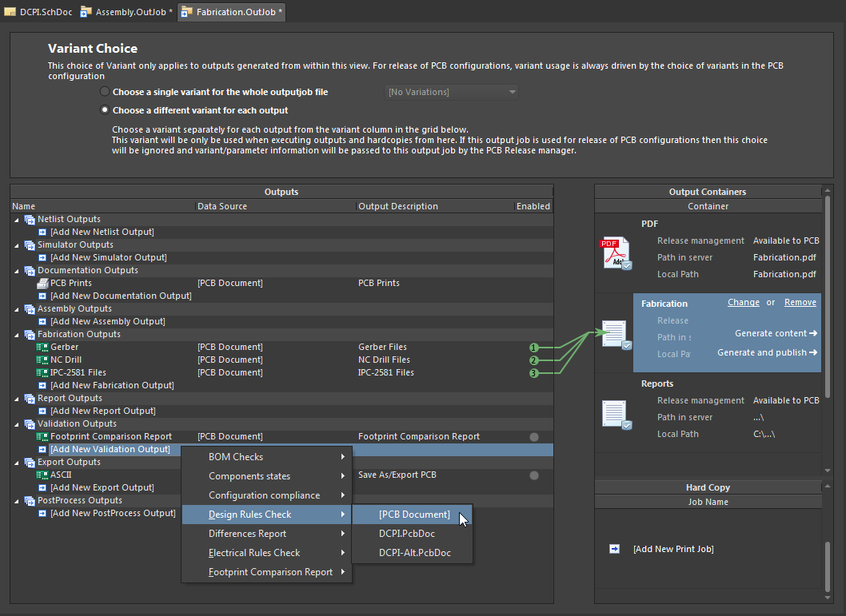 The Output Job Editor allows a wide range of design output generators to be targeted at output containers (files, printers, location paths, etc.,), and the configuration saved as an OutJob project file.