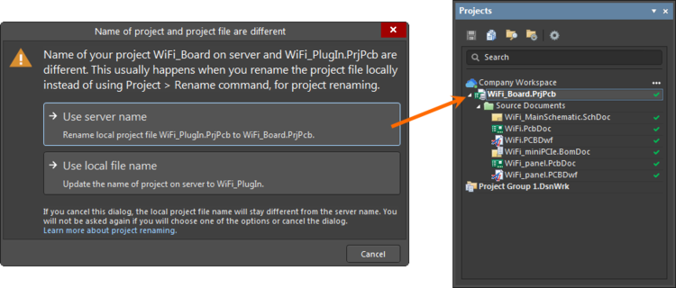 Options available if you have renamed the project on the Workspace side.