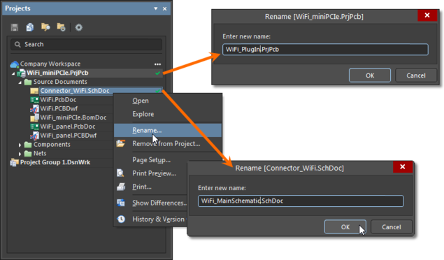 Examples of renaming a project and one of its design files, locally from within Altium Designer. Those changes will be synchronized with the Workspace when you save and send the changes to that Workspace.