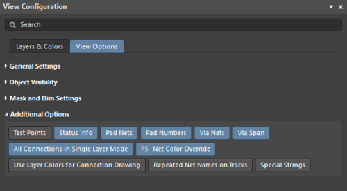 The Additional Options section of the panel's View Options tab