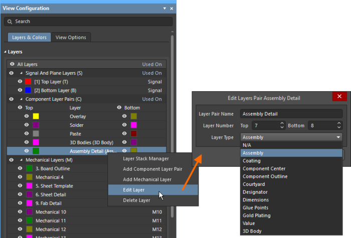 Editing a component layer pair