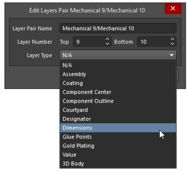 Select the Layer Type from the pre-defined list of Types;individual mechanical layers are shown on the left;Component Layer Pairs are shown in the middle and a new Component Layer on the right.