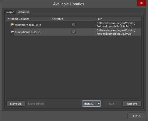Установите внешнюю библиотеку КП/ПО или используйте вкладку Project, чтобы добавить внешнюю библиотеку в текущий проект.