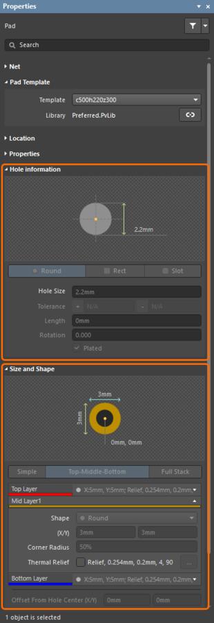 Шаблоны из активной библиотеки КП/ПО, Preferred.PvLib в этом примере. Справа показаны свойства размещенного экземпляра выделенной контактной площадки. Обратите внимание, что физические свойства, такие как форма и размер отверстия КП, не доступны для редактирования.