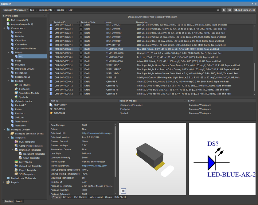 The Explorer panel gives access to data stored in a Workspace.