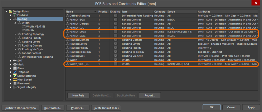 Example disabled rules, appearing in gray font within a summary list.