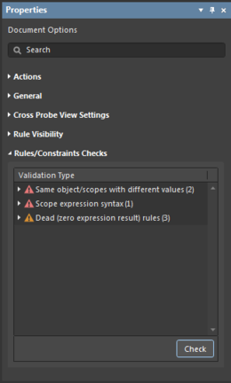 Check the validity of rules currently defined in the Constraints Editor.