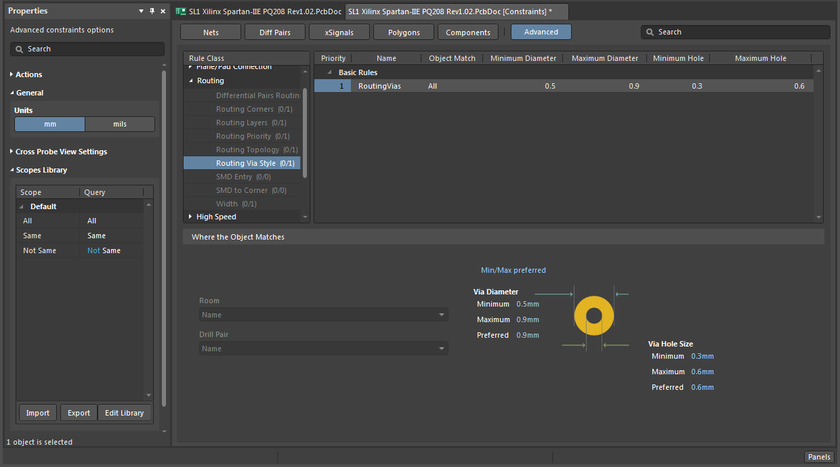 In Advanced mode of the Constraint Editor, rules are grouped by type.