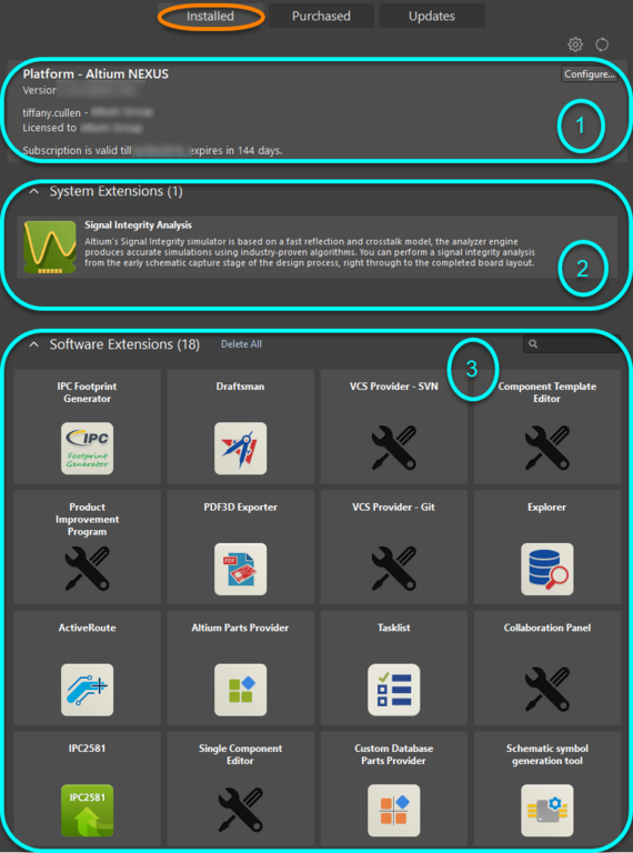 Accessthe Installed page of the view for a summary of what's currently installed in your instance of Altium NEXUS.