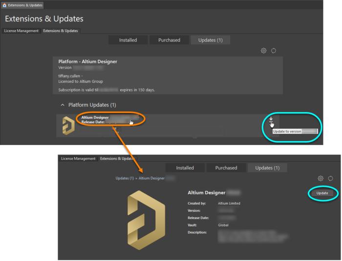 Обновите Altium Designer до более новой версии непосредственно из текущей.