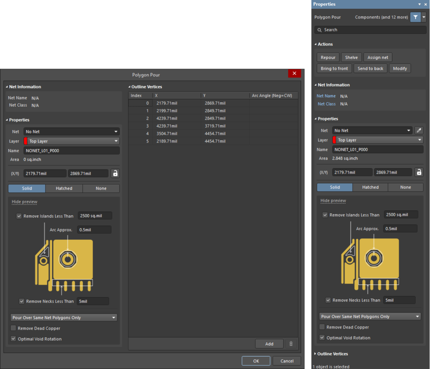 The Polygon Pourdialog on the left, and the Polygon Pourmode of theProperties panel, on the right.