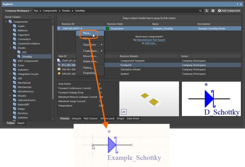 Разместите управляемый компонент из панели Explorer с помощью специальной команды Place.