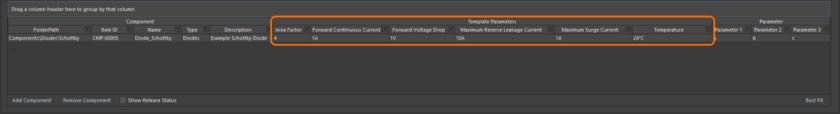 Пример параметров из шаблона в области, где определяются сами компоненты, при использовании редактора Component Editor в режиме Batch Component Editing.