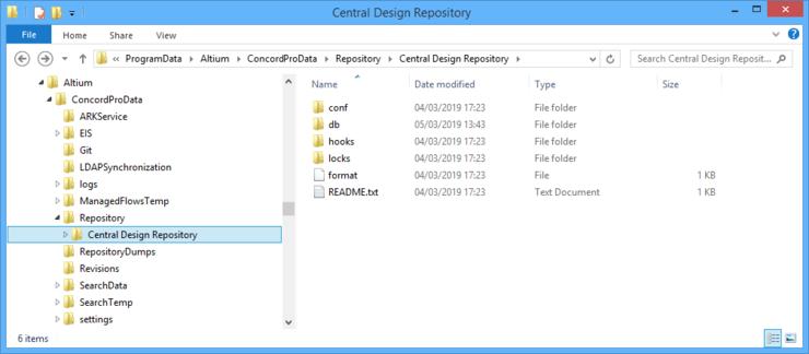 Расположение хранения внутренних данных проектного репозитория, созданного локальной службой Version Control Service установки Altium Concord Pro.