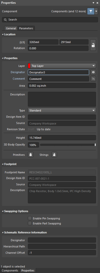 The Component dialog (the first image) and the Component mode of the Properties panel (the second image)