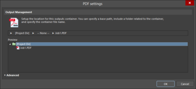 The Advanced and Basic variations of thePDF Settings dialog