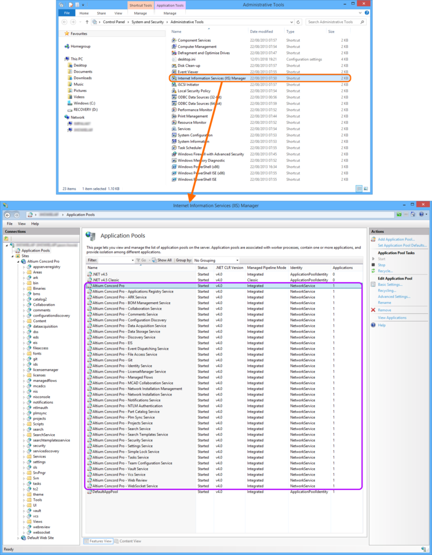 Checking that Altium Concord Pro-related IIS application pools are started after installation.
