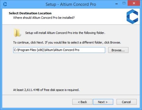 Determine install location for Altium Concord Pro.